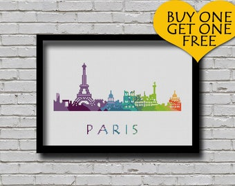 Cross Stitch Pattern Paris France Europe City Silhouette Watercolor Effect Decor Embroidery Rainbow Color Skyline xstitch Diy Chart