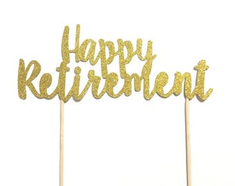 1 pc Happy Retirement script fonts silver gold glitter work party cake topper