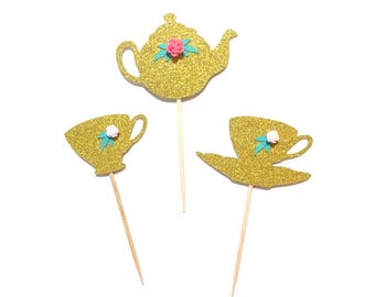 10 pcs Flowers Tea pot Tea cup Cupcake Topper Gold Glitter Birthday Toddler Girl tea party theme