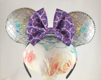 Sparkly Silver Epcot Spaceship Earth Inspired Minnie Mouse Ears Headband