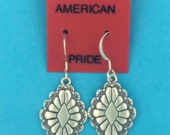 Sterling Silver Southwestern Diamond Flower Earrings