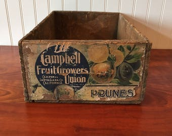 Wooden Fruit Crate Prune Crate Wood Box Wood Crate Orchard Vintage Crate Wooden Crate Campbell Fruit Growers Crate California Fruit Crate