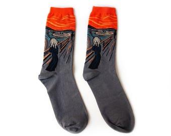 The Scream socks, fun socks, art socks, women socks, casual socks, socks for men, gift socks, cotton socks, gift for her gift for him