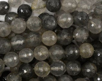 """10mm faceted gray quartz round beads 15"""" strand 38690"""