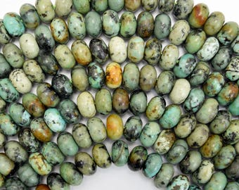 """10mm african turquoise rondelle beads 15.5"""" strand 38038"""