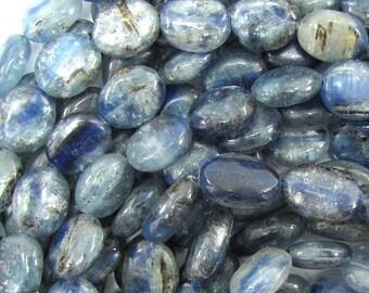 "12mm blue kyanite flat oval beads 16"" strand S1 33407"