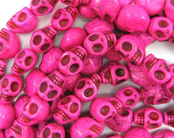 "13x17mm magenta turquoise carved skull beads 7.5"" strand 31276"