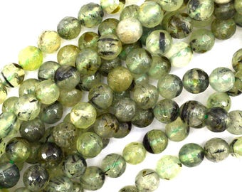 """8mm faceted green prehnite round beads 15.5"""" strand 35198"""