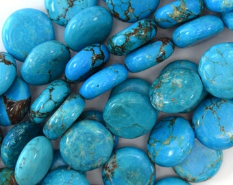 "14mm blue turquoise coin beads 16"" strand S1 15819"