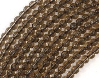 """4mm smoky quartz round beads 15.5"""" strand 30473"""