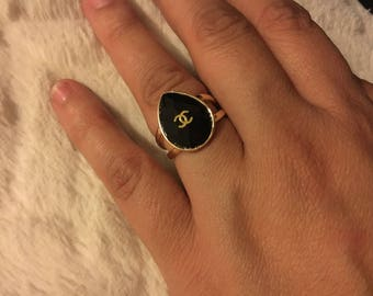 Chanel ring black and gold size 8