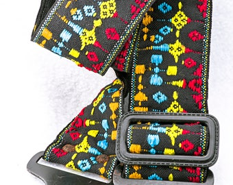 """Black, Red, Blue, Yellow, and Orange Camera Strap, 43"""" Long by 2"""" Wide for Canon, Nikon, Pentax, Sony, and Others"""