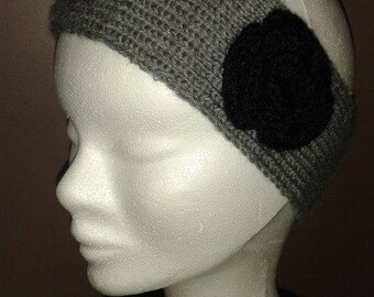 Headband, gray black flower Headband