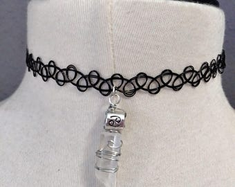 Cancer quartz tattoo choker