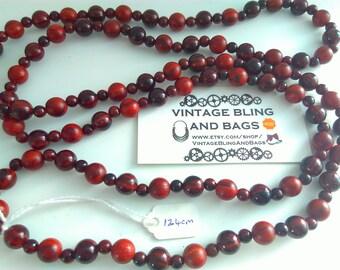 124cm vintage bead necklace, brown bead necklace, bead necklace, brown necklace, long brown beads, vintage necklace, vintage long necklace