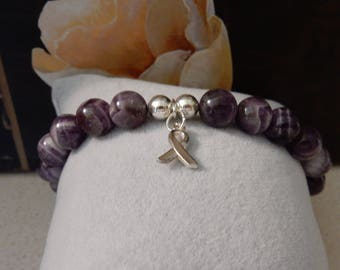 1 of a KIND AAA+ Chevron Amethyst Bracelet with Silver Plated Cancer Awareness Ribbon