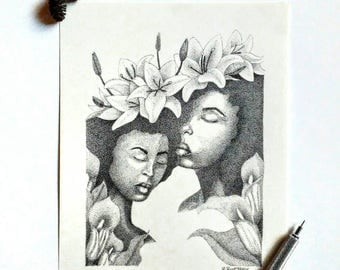Maybe Original Pen and Ink Pointillism Drawing of Women With Flowers Afrocentric