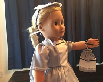 18in white and blue doll dress