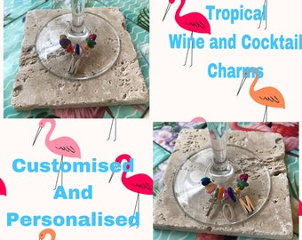 """Personalised Wine Charms """"My Happy Hour"""" with your Letter or Name of your choice and coloured Gem Stones. Handmade in the U.K."""