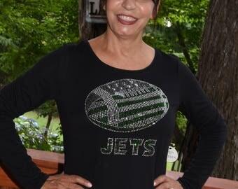 Jets  football rhinestone  bling  shirt,  all sizes XS, S, M, L, XL, XXL, 1X, 2X, 3X, 4X, 5X