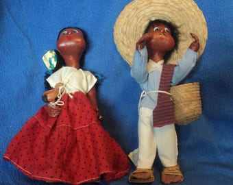 Painted canvas cloth folk dolls 2 souvenir of trip to Mexico 11 inches tall
