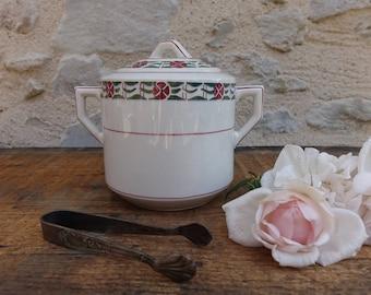 Sugar Bowl with handles and lid ceramic - art decor - geometric - Pot France porcelain Style