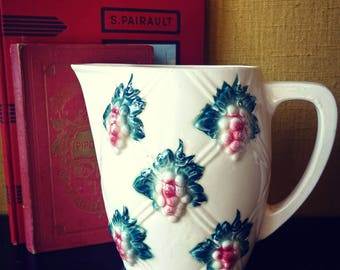 White ceramic - majolica grapes - Sarreguemines France water jug/pitcher