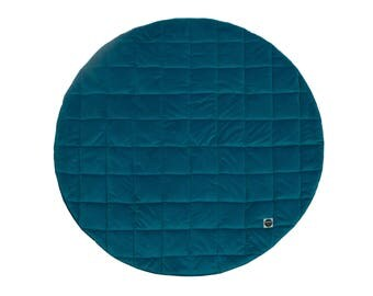 Baby Play Mat / Quilted Play Mat / Padded Play Mat / Round Play Mat / Dark Turquoise Mat / Floor Mat / Baby Rug / Kid's Rug / Floor Rug