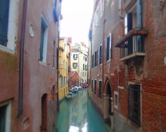 Venice Canals Fine Art  Print,  Landscape Print,Venice Houses, Rome architecture, Venice Colourful Houses, Narrow Canals, Green
