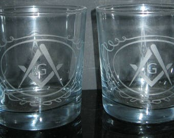 Custom engraved Rocks Glasses Set of 2