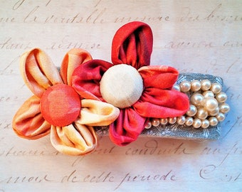 Hair clip with Kanzashi flowers and vintage art beads