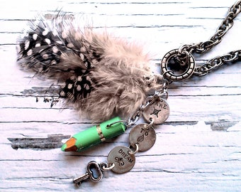 Boho necklace with amulet, Talisman and feathers