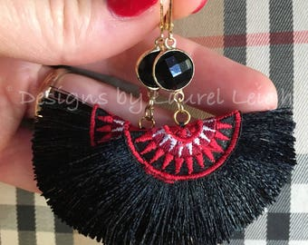 Red and BLACK Fan Earrings | fringe, white, multicolored, statement earrings, lightweight, UGA, Georgia, game day, NC State, team colors