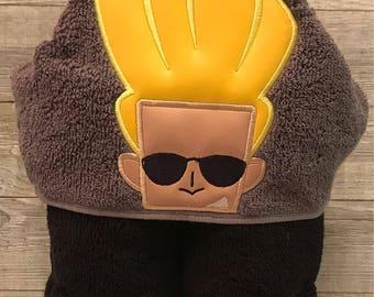 Hooded towel, Johny Bravo Hooded Towel, bath towel, bathroom towel, fun kids towel, OS fits most, 90's Cartoon character