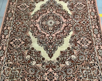 Carpet rug 100% wool geometric pattern rug pink & brown color warm vintage rug old rug big rug retro style suitable for home and restaurant.