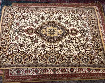 Excellent carpet rug 100%wool oriental pattern rug red green beige and yellow color warm vintage old rug retro suitable for home&restaurant.
