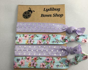 Blue Floral Hair tie set , Hair tie set , girls hair ties , Blue and purple hair ties , no crease hair ties