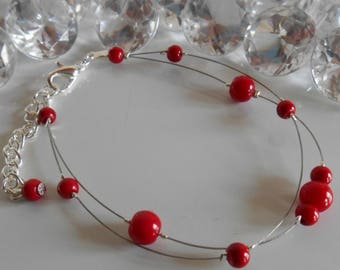 Bracelet wedding 2 row red passion pearls