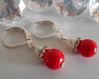 Earrings sleepers wedding passion red and white pearls and rhinestones