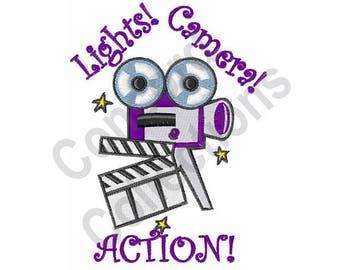 Lights Camera Action - Machine Embroidery Design, Camera, Film