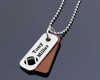 Personalized football necklace, football jewellery, personalized leather necklace, name necklace, football player gift, football team gift