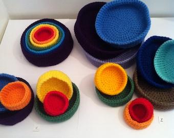Rainbow Bowls, Crochet Bowls,  Storage Bowls,  Set of bowls,  Crochet Storage Bowls, Nesting Bowls