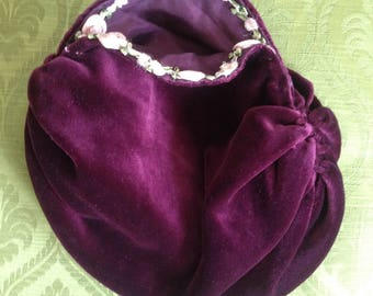 Vintage velvet plum evening bag purse Edwardian 1920s1930s 1940s  1950s Steampunk Goth