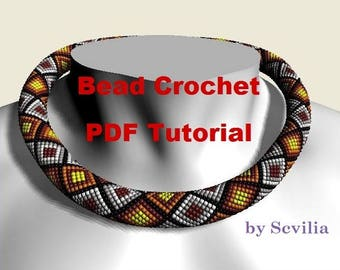 Bead crochet rope pattern for beading necklace «Mosaic». Instant Download
