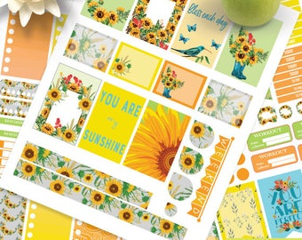 Sunflower Planner Stickers Printable, Sunflowers Kit BIG MAMBI Happy planner, Yellow Weekly Kit, Printable Sampler,Instant download