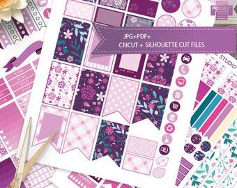 Floral Printable Planner Stickers ,purple and pink HAPPY PLANNER, Weekly Kit,Printable Sampler, Happy planner kit,Instant download