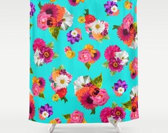 Floral Shower Curtain, Teal Shower Curtain, Floral Bathroom, Rose Shower Curtain, Bold Flower Pattern Decor, Bright Bathroom, Rose Print