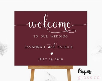 Marsala Wedding Welcome Sign, Wedding Welcome Sign, Large Wedding Welcome Sign, Boho Welcome Sign, Marsala Wedding, Wedding Poster
