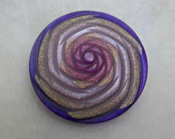 3  Resin buttons - violet, pink, beige - 27mm