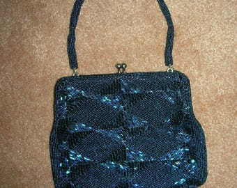 Vintage Navy Beaded Richere Evening Purse